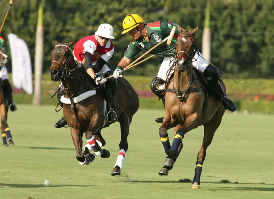 polo players on field with horses