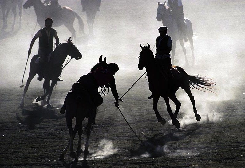 Polo players on misty field